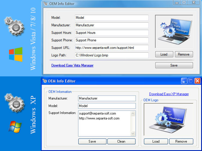 OEM Info Editor screen shot